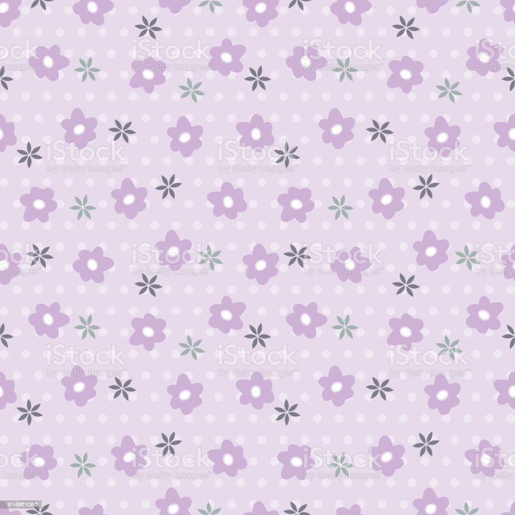 Flowers Seamless Pattern Purple Floral Wallpaper Vintage Floral
