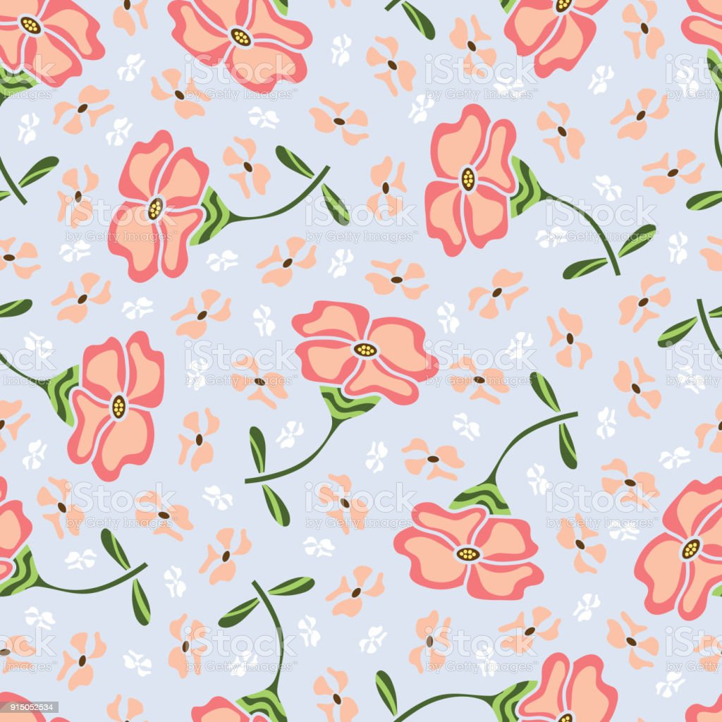 Flowers Seamless Pattern Vintage Floral Background Stock