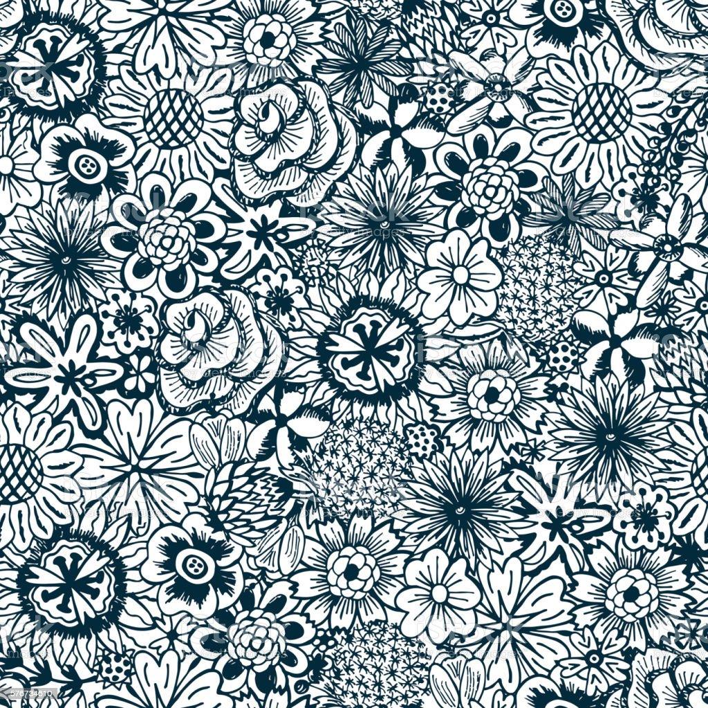 Carta Da Parati Floreale Bianco E Nero.Fiori Seamless Pattern Con Fiori Carta Da Parati Floreale Vintage