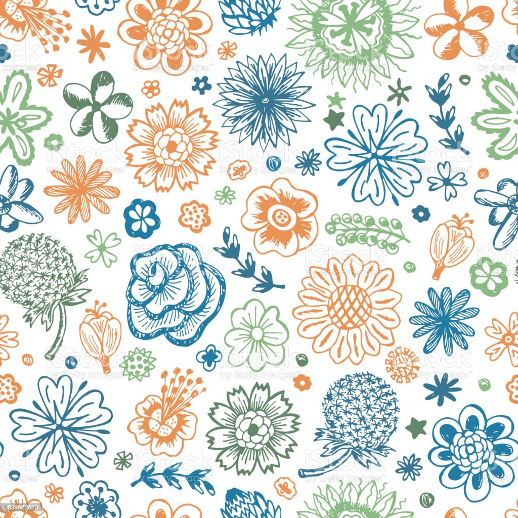 Flowers Seamless Pattern With Flowers Vintage Floral Wallpaper
