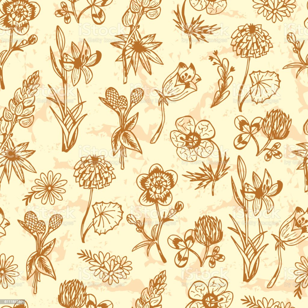 Flowers Seamless Pattern With Wildflowers Vintage Floral Wallpaper