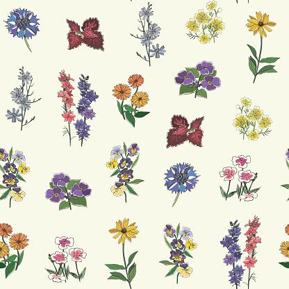 Flowers seamless vector spring pattern