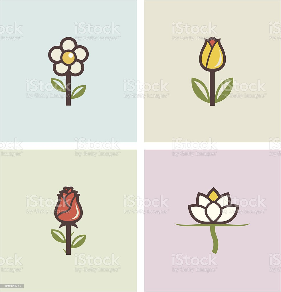 flowers set of icons vector art illustration