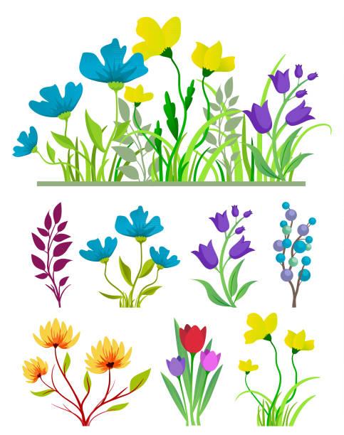 Flowers Set vector art illustration