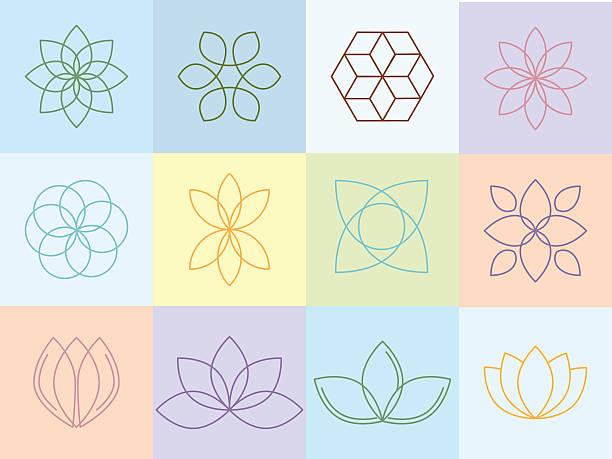 ilustrações, clipart, desenhos animados e ícones de flores silhouttes e ícones - lotus