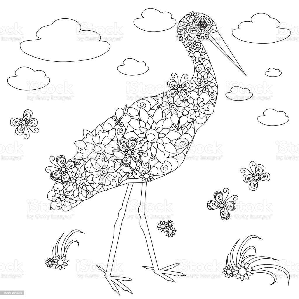 Flowers Stork Coloring Page Antistress Stock Vector Art & More ...