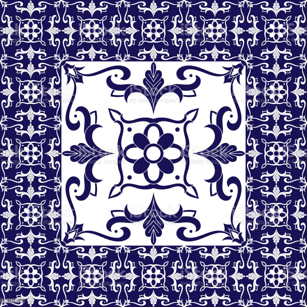 Ilustración de Azulejos Flores Vector Patrón Con Azulejos De ...
