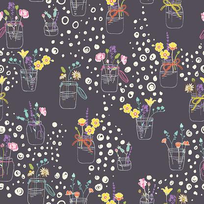 Flowers Twigs in Mason jars Vector Seamless Pattern