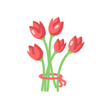 Flowers vector flat color icon