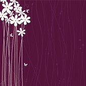 Purple background with white flowers and butterflies.