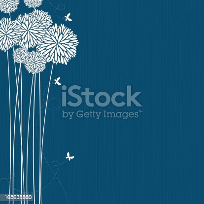 Teal background with white flowers and butterflies.