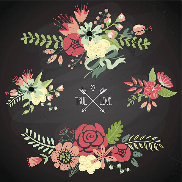 Flowers Cute floral bouquets, retro flowers shabby chic stock illustrations