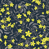 Seamless pattern with yellow wildflowers  on black background.  Vector illustration. .