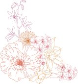 Hand drawn vector illustration of flowers.