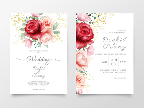 Flowers wedding invitation cards template with marble textures. Modern poster abstract background, greeting, save the date, greeting vector