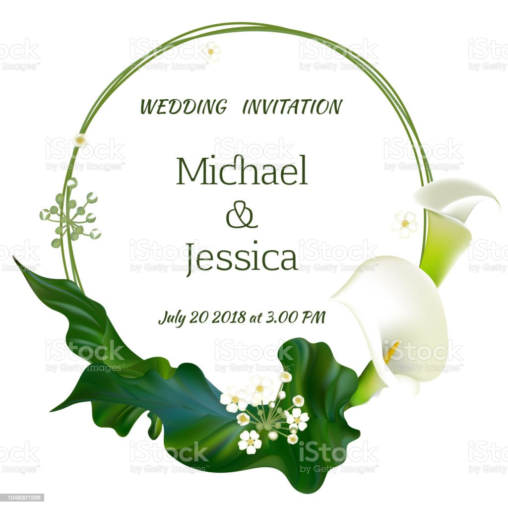 Flowers Wedding Invitation Floral Background Callas Green