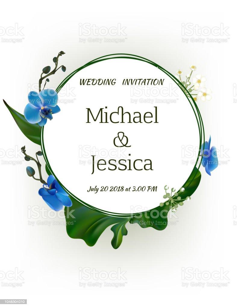 Fleurs. Faire-part de mariage. Orchidées. Floral fond. Callas. Des feuilles vertes. Motif de fleurs.  Bouquet. Cadre. - Illustration vectorielle