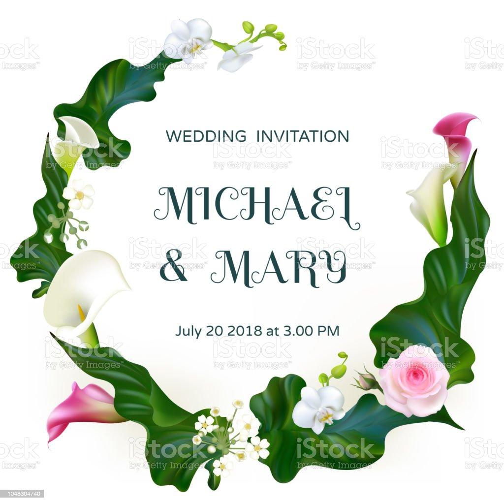 Fleurs. Faire-part de mariage. Orchidées. Floral fond. Callas. Des feuilles vertes. Motif de fleurs. Rose. Roses. Bouquet. Cadre. - Illustration vectorielle