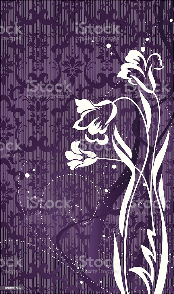 Flowers with violet pattern background royalty-free stock vector art