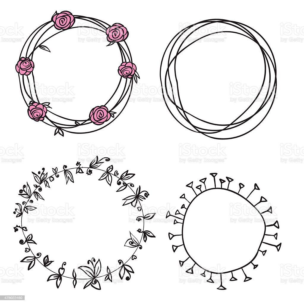 Flower Circle Line Drawing : Flowers wreath circle pattern stock vector art more