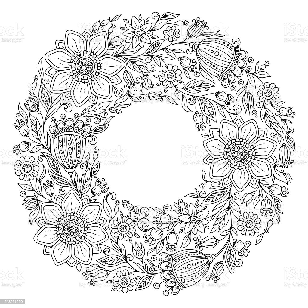 Flowers wreath. Coloring book page for adult vector art illustration