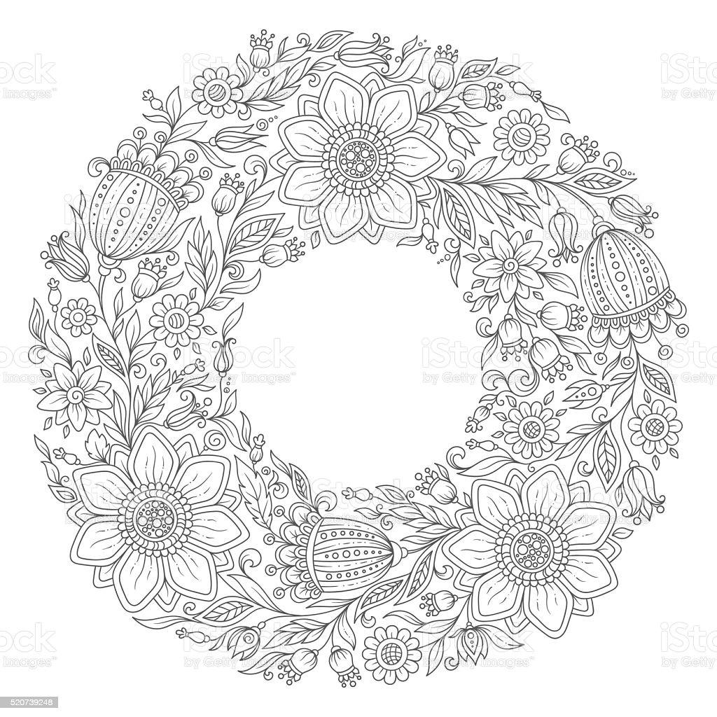 Ilustración de Flores Corona Libro Para Colorear Página Para Adultos ...