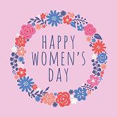 Flowers wreath for International Women's Day celebration. Vector illustration. - Illustration
