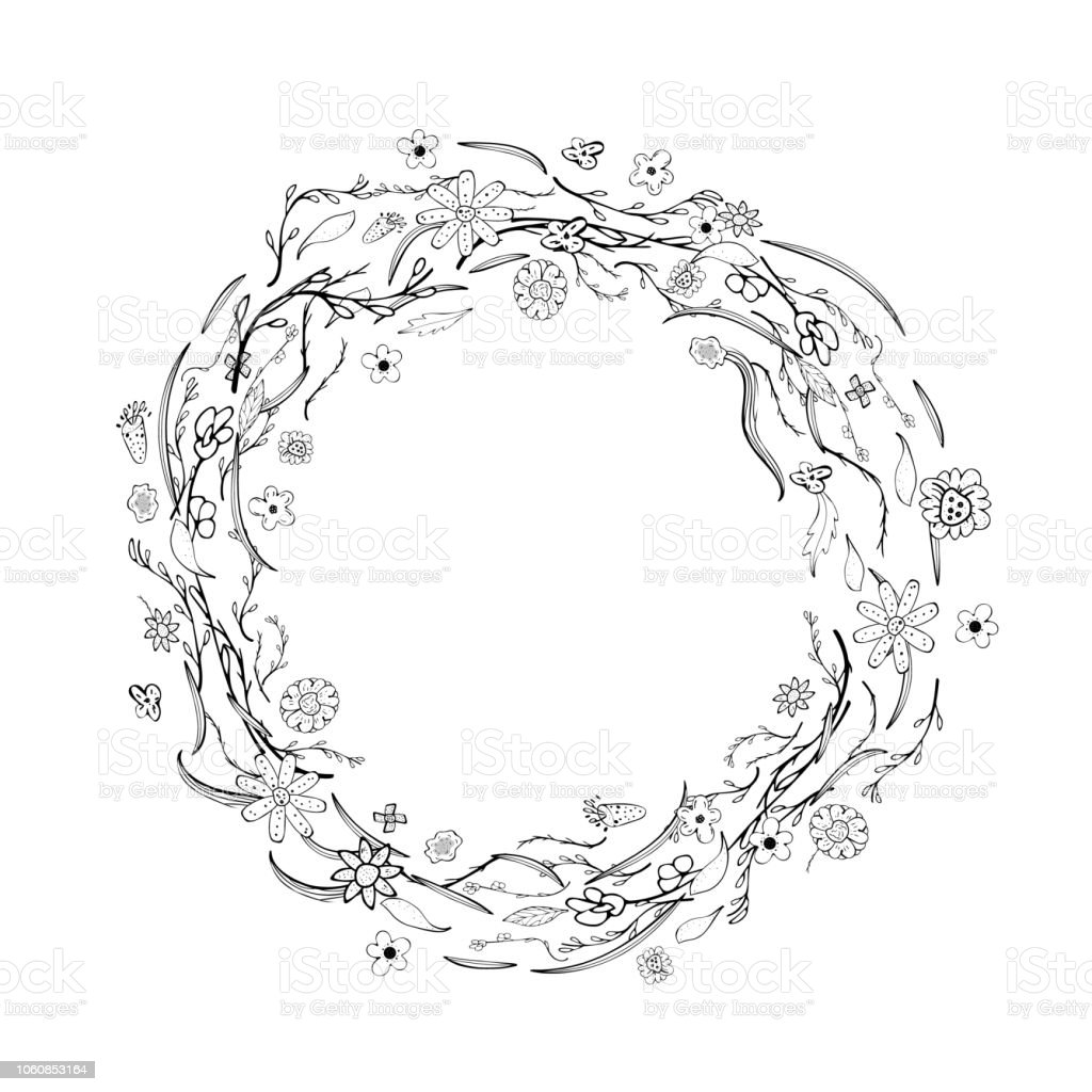 wild flowers and leaves wreath composition. Hand drawn style round...