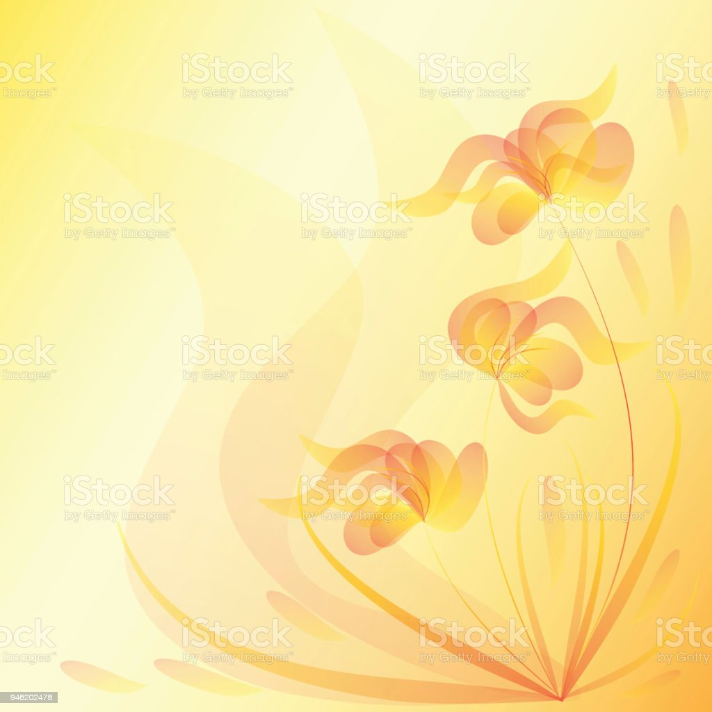 Flowers Yellow Floral Background Invitation Card Template Stock