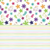 Flowery bright pattern in small-scale colored flowers on striped background. Floral seamless background for textile, book covers, manufacturing, print