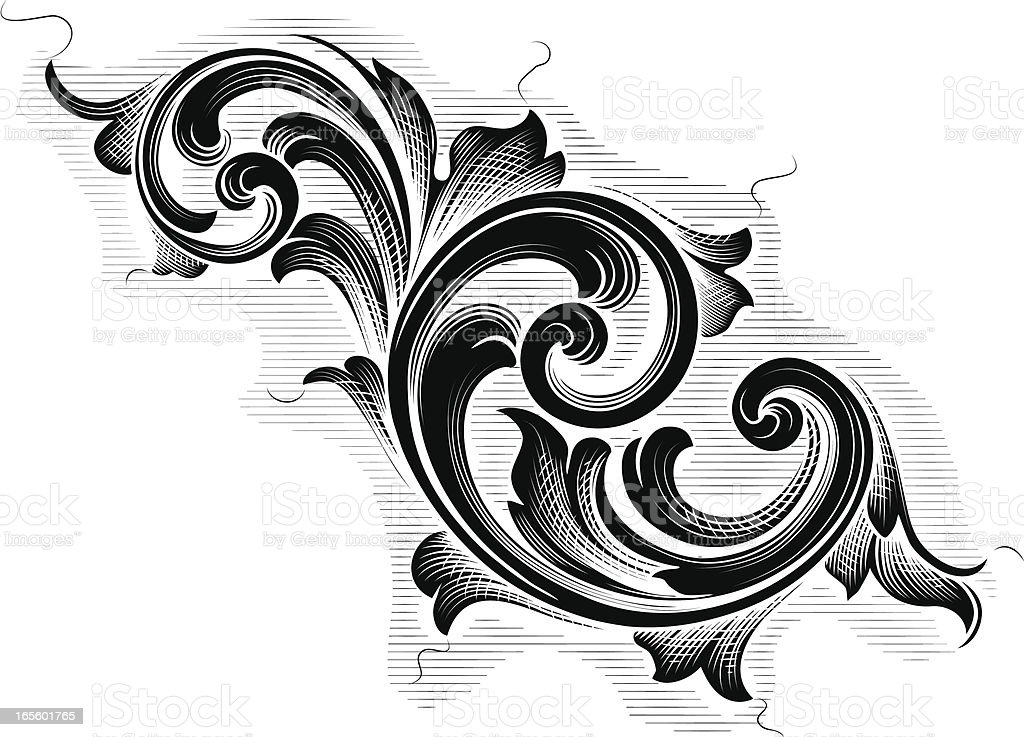 Flowing Black Scrolls royalty-free stock vector art