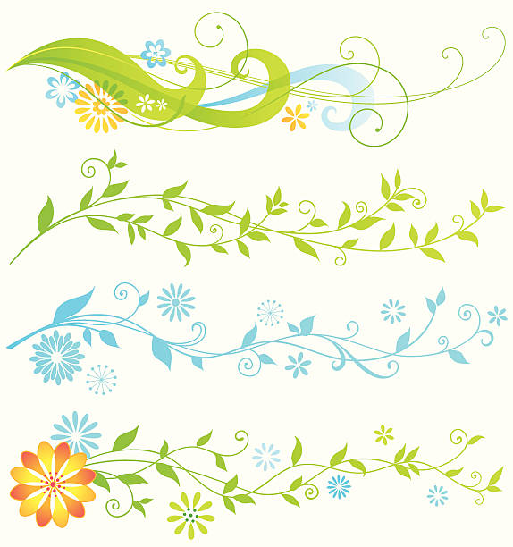 flowing borders - vine stock illustrations, clip art, cartoons, & icons
