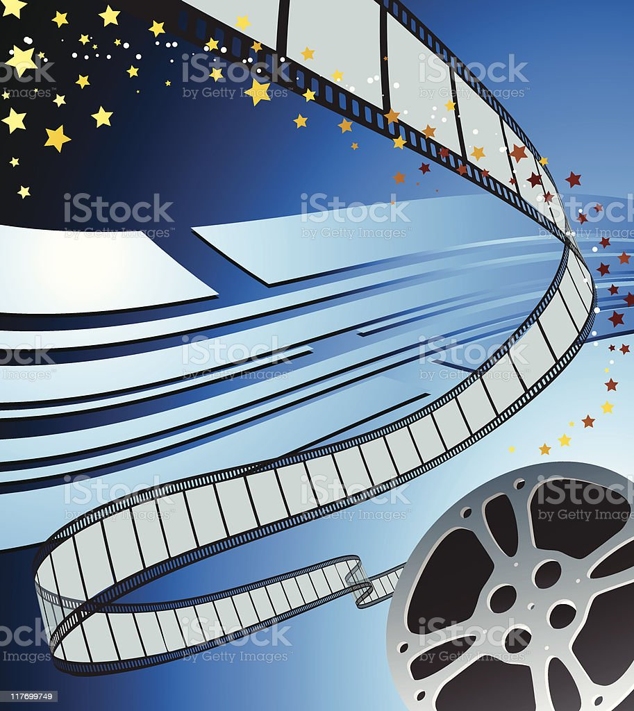 flowing Film strip reel blue abstract background royalty-free stock vector art