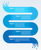 Flowing five item data timeline infographic.