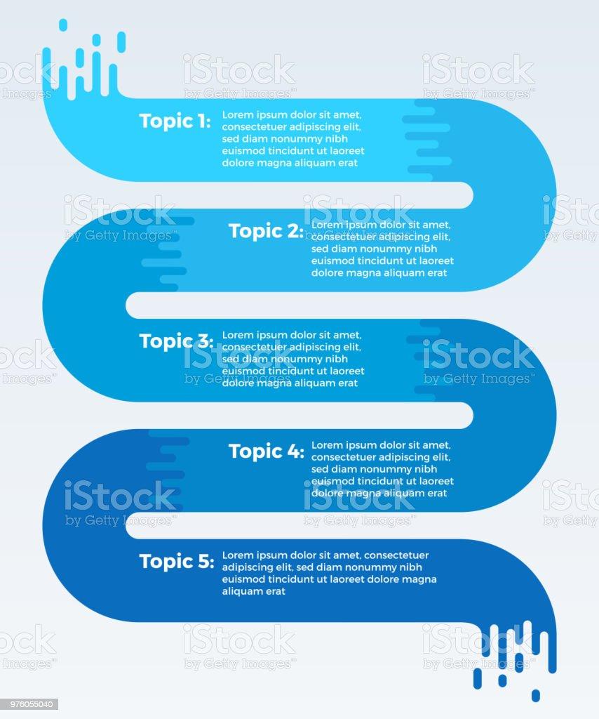 Flowing Five Item Data Infographic vector art illustration