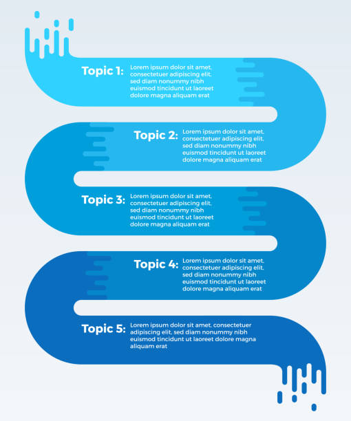 flowing five item data infographic - flowing stock illustrations