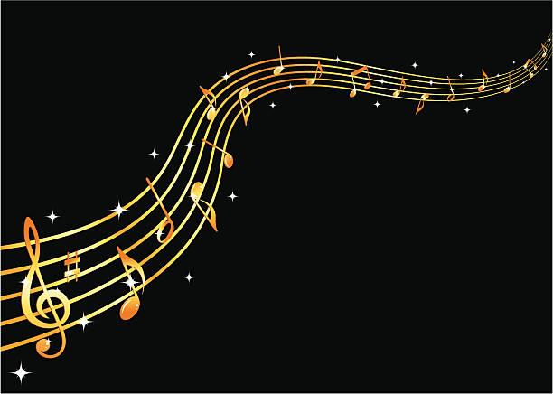 Flowing golden music vector art illustration