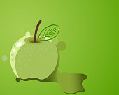 Flowing painted apple, isolated design element.