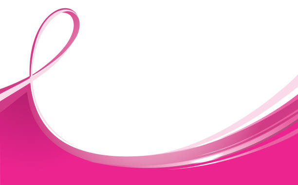 flowing ribbon - breast cancer awareness stock illustrations