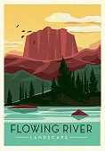 Vector illustration of a Flowing River landscape with mountain ridge, pine trees and birds scenic poster design with text. Vintage texture overlay. Fully editable EPS 10.