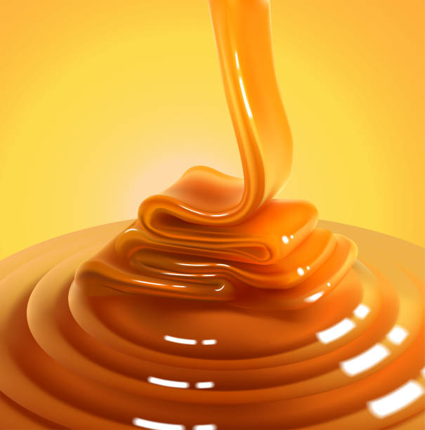 Flowing stream of golden caramel on a yellow background. High detailed realistic illustration. The glossy stream of caramel flows to the surface and freezes in beautiful waves.High detailed realistic illustration caramel stock illustrations