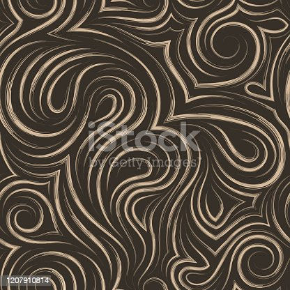 istock Flowing vector seamless pattern of brush strokes in the form of spirals of loops and curls. Texture for the design of fabrics or wrappers in beige on a brown background 1207910814