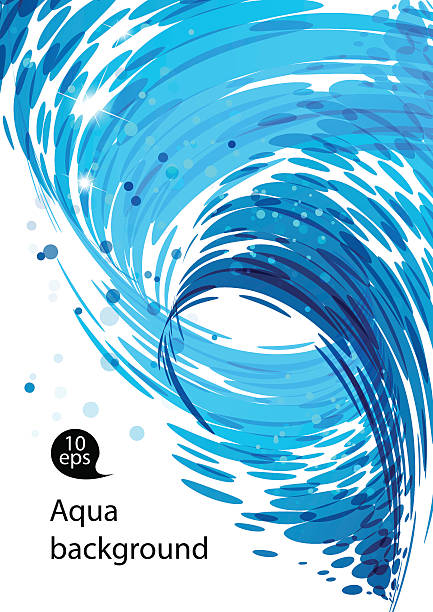 Flowing water, abstract blue background Flowing water, water stream falling, spiral motion, abstract blue background tide stock illustrations