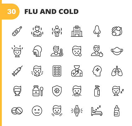 30 Flu and Cold Outline Icons.