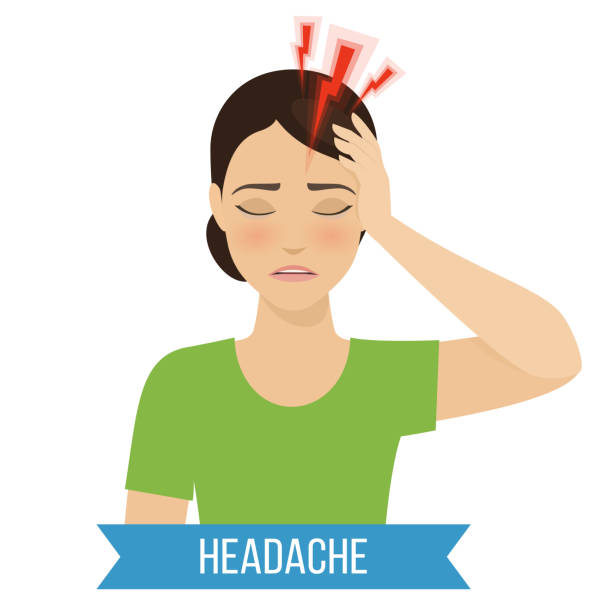 Flu and cold Headache - symptom of cold and flu. Vector headache stock illustrations