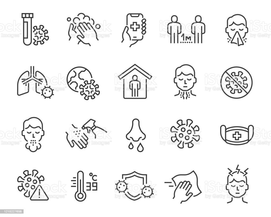 Influensa och coronavirus ikoner set. Redigerbar vektorlinje - Royaltyfri Antiseptiskt medel vektorgrafik