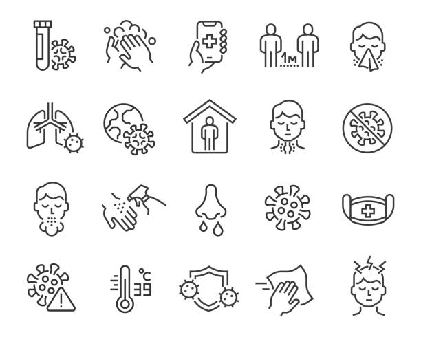 Flu and coronavirus icons set. Editable vector stroke Flu and coronavirus icons set. Collection of linear simple web icons such as hygiene, disinfection, symptoms, treatment, virus, prevention and other. Editable vector stroke. covid icon stock illustrations