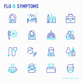 Flu and symptoms thin line icons set: temperature, chills, heat, runny nose, bed rest, pills, doctor with stethoscope, nasal drops, cough, phlegm in the lungs. Modern vector illustration.