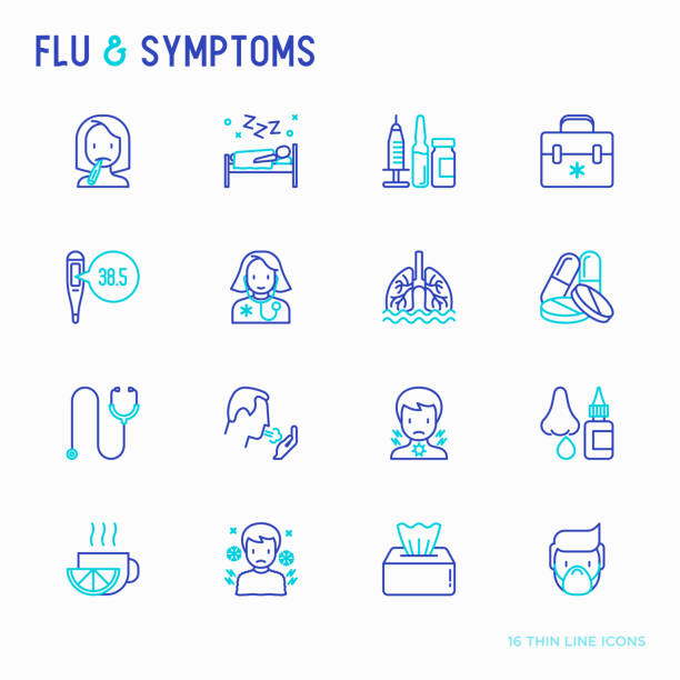 Flu and symptoms thin line icons set: temperature, chills, heat, runny nose, bed rest, pills, doctor with stethoscope, nasal drops, cough, phlegm in the lungs. Modern vector illustration. Flu and symptoms thin line icons set: temperature, chills, heat, runny nose, bed rest, pills, doctor with stethoscope, nasal drops, cough, phlegm in the lungs. Modern vector illustration. pneumonia stock illustrations