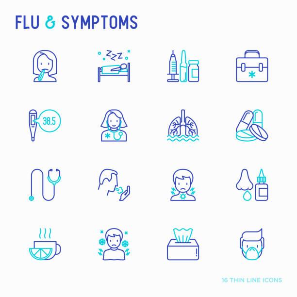 bildbanksillustrationer, clip art samt tecknat material och ikoner med influensa och symtom tunn linje ikoner set: temperatur, frossa, värme, rinnande näsa, sängläge, piller, läkare med stetoskop, näsdroppar, hosta, slem i lungorna. moderna vektorillustration. - sjukdom